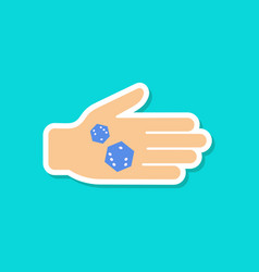 Paper sticker on stylish background dices in hand vector