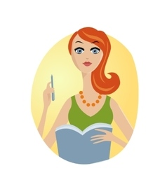 Pretty woman holding notebook vector