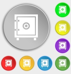 Safe money icon sign Symbol on eight flat buttons vector image vector image