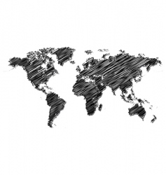 scribbled world map vector image vector image