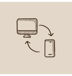 Synchronization computer with mobile device sketch vector