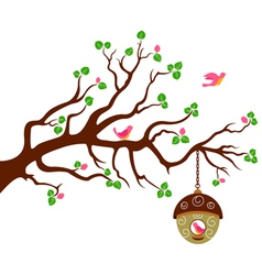 Tree with cute bird house vector image