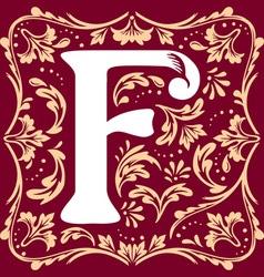 vintage letter F vector image vector image