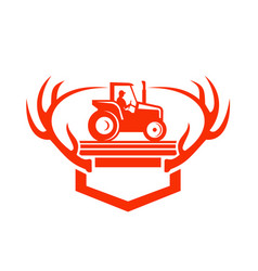 White tail deer antler tractor retro vector