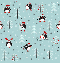 winter simles pattern with pigwins vector image