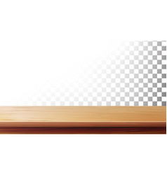 Wooden table top isolated on transparent vector