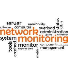 Word cloud network monitoring vector