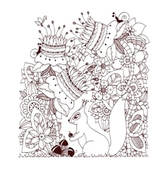 Zen Tangle squirrel with vector image vector image
