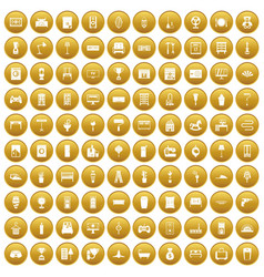 100 home icons set gold vector