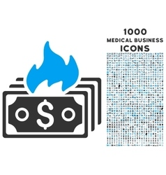 Burn banknotes icon with 1000 medical business vector