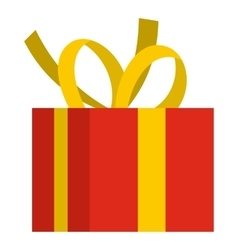 Christmas box with yellow bow icon flat style vector