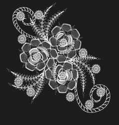 Three flower white pattern or tattoo vector