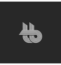 Letters tb logo parallel lines monogram vector image