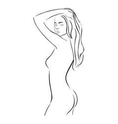 Side view female sensual stylized half body vector