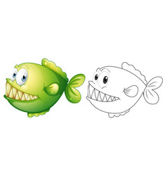 animal outline for piranha fish vector image