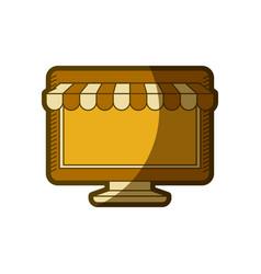 Yellow aged silhouette of desktop computer online vector