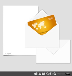 Collection of envelopes and white a4 papers ready vector