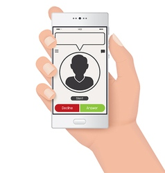 Incoming call on hand vector image