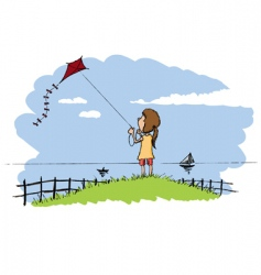 flying a kite vector image