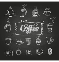 chalk drawings Set of coffee cups vector image