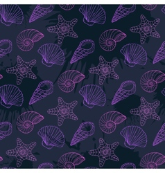 Seamless pattern with different shells in neon vector