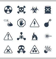 Hazard and danger icon set vector