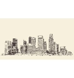 Big city architecture engraved sketch vector