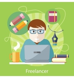 Freelancer Copywriter Journalist at Computer vector image