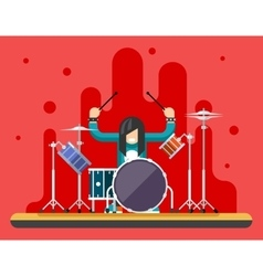 Drummer drum icons set hard rock heavy folk music vector