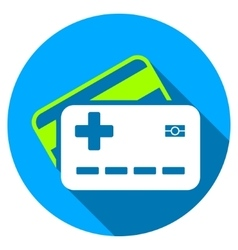 Medical insurance cards flat round icon with long vector