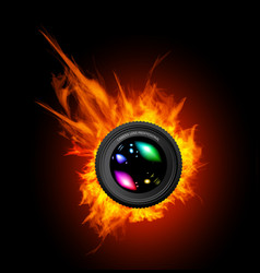 Burning the camera lens vector