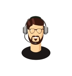 Customer support operator with a headset icon vector