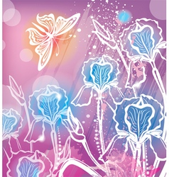 background with flowers iris vector image