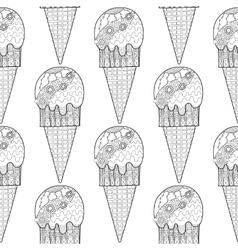 Black white seamless pattern with decorative ice vector