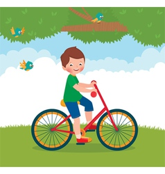 Boy rides a bike vector