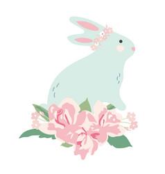 bunny with flower bouquet vector image vector image