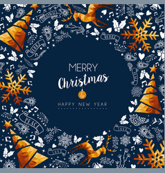 christmas and new year gold low poly luxury card vector image