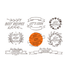 cooking badges collection vector image vector image