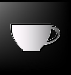 Cup sign gray 3d printed icon on black vector