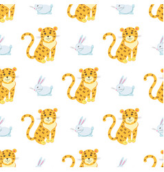 cute leopards and rabbit seamless pattern vector image vector image
