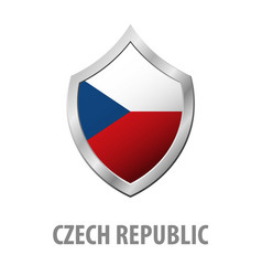 czech republic flag on metal shiny shield vector image