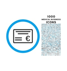 Euro cheque rounded icon with 1000 bonus icons vector