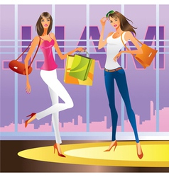 Fashion girls in the mall vector image