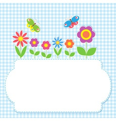 Frame with flowers and butterflies vector image