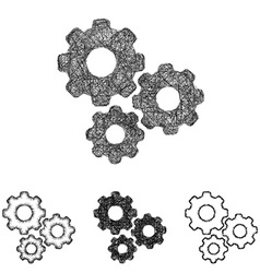Gear icon set - sketch line art vector