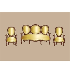 Gold retro armchair and couch - vector