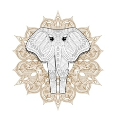 Hand drawn zentangle ornamental elephant on vector