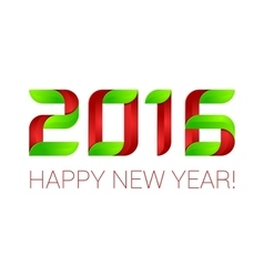 Happy new year 2016 text design green and red vector image