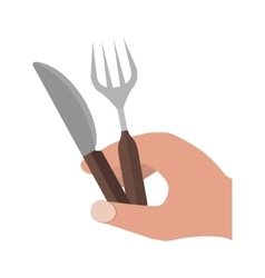 Holding fork and knife vector