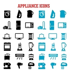 Home appliance and equipment flat icons vector image